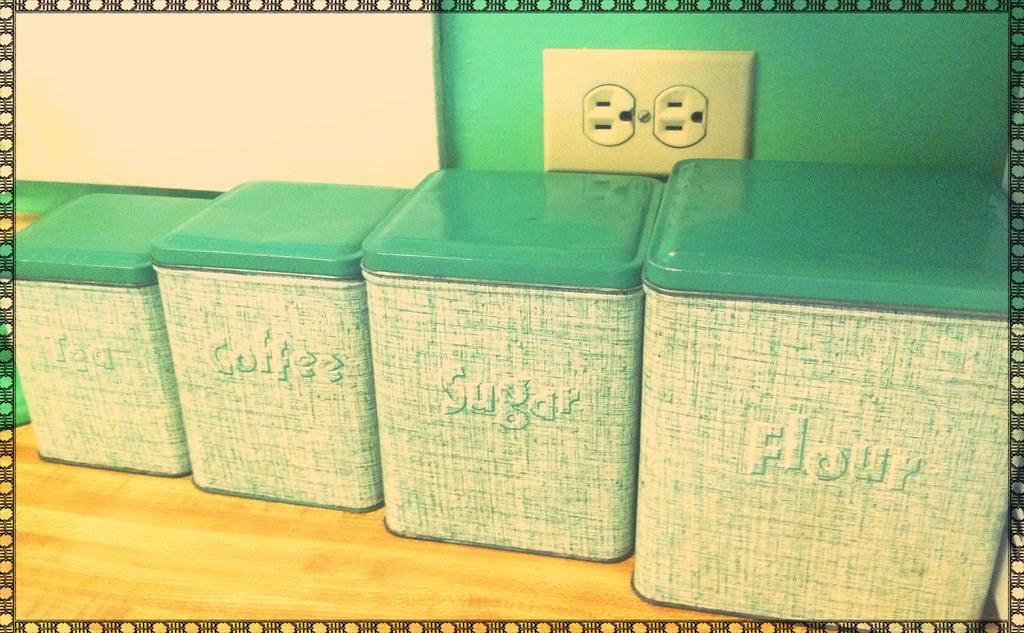 Bon My Vintage Green Metal Kitchen Canister Set