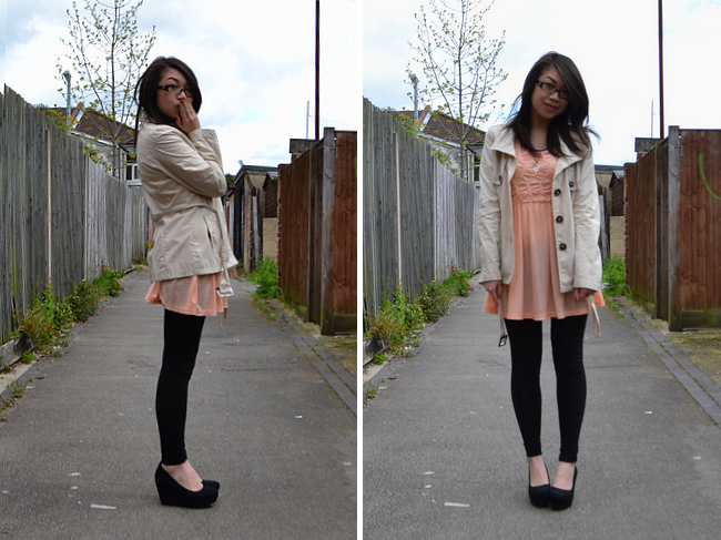 daisybutter - UK Style and Fashion Blog: what i wore, outfit post, british style, river island tunic, coral, SS12, english summer style