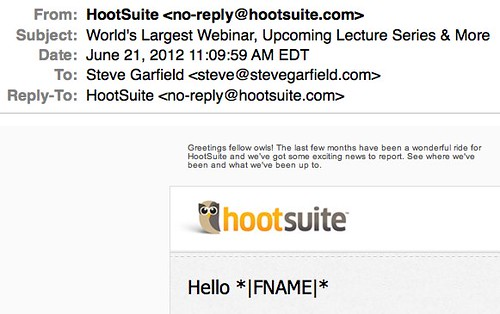 hootsuite email fail - no-reply and Hello FNAME by stevegarfield