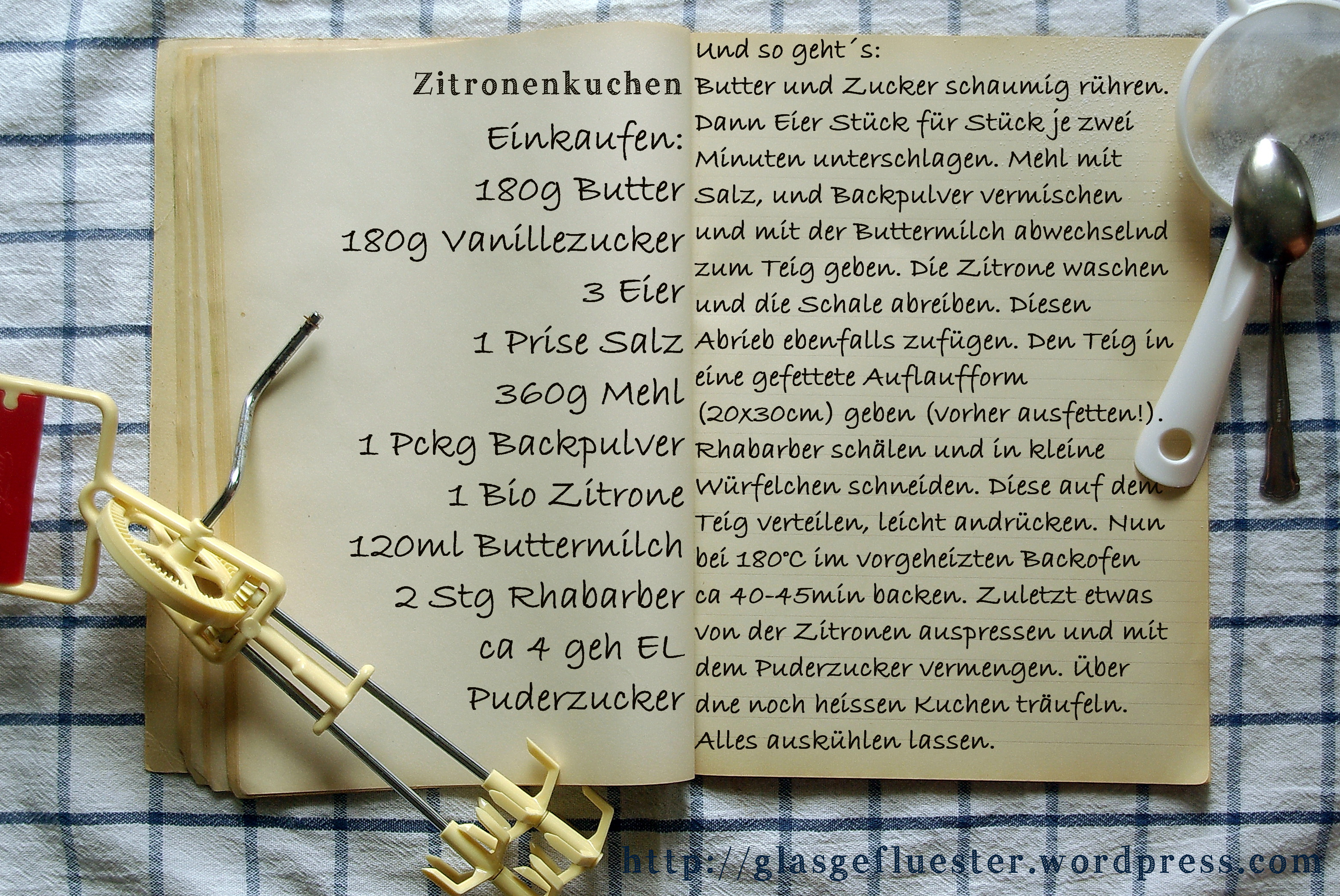 Einkaufszettel Zitronenkuchen by Glasgefluester