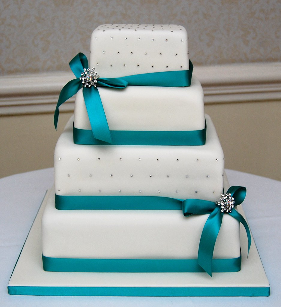 Grey And Mint Wedding Cake