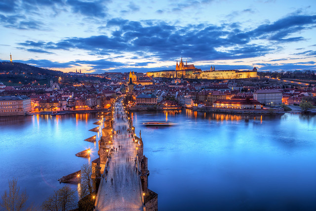 The blue sunset in Prague
