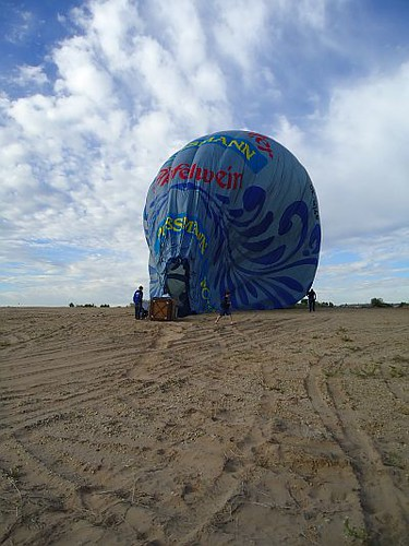 Balloon down, ready to fold up