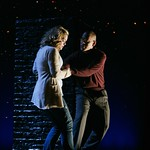 """Carol (Ana Reeder) and Ken (Reuben Jackson) explore the edge of her apartment building roof in the Huntington Theatre Company's World Premiere of Stephen Belber's """"Carol Mulroney"""" directed by Lisa Peterson at the Calderwood Pavilion. Part of the 2005-2006 season. Photo: T. Charles Erickson."""