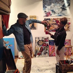 champagne toast from artist @pollard_darren to the new Galleryna19 space! watch out for his solo show coming July 18!