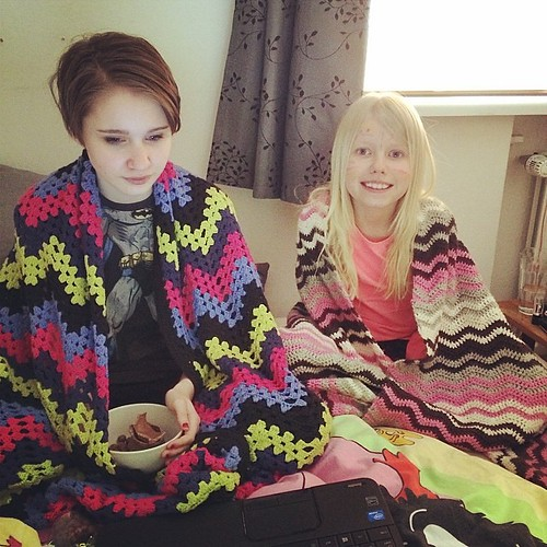 My girls wrapped up in my crochet