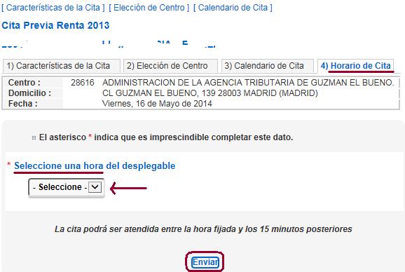 Cita Renta 2013 paso 4 Horario de la cita