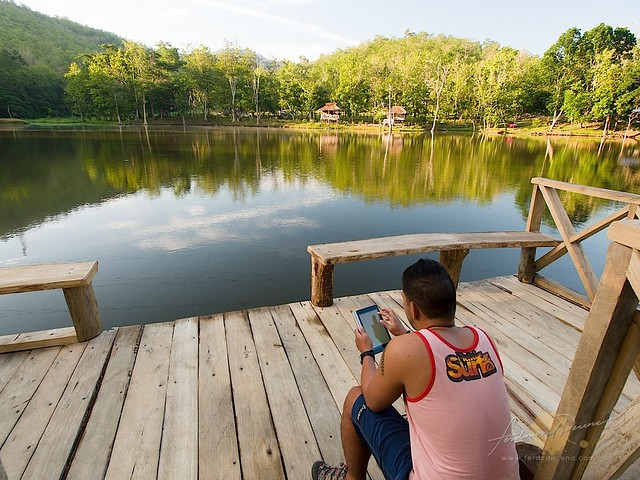 Me and my yoga tablet by a lake in Nueva Vizcaya