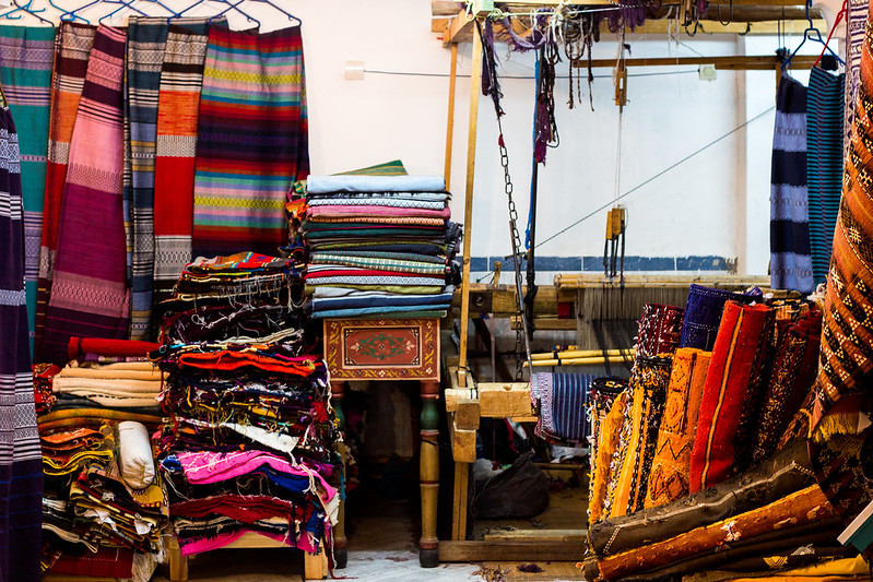 in the basement of a Moroccan rug shop