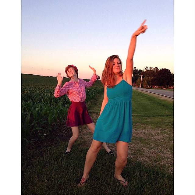 We stopped to watch the sun set on this beautiful summer night. And then the girls danced.