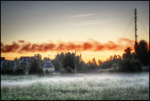 trees sky house mist tower field grass fog night sunrise smoke hdr bulding jakobstad alholmenskraft 4ex2ev aspegrensträdgård