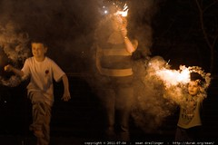 mother & sons with sparklers