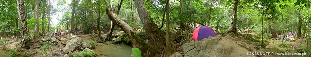 Panoramic view of the path under the trees to Batlag Falls.