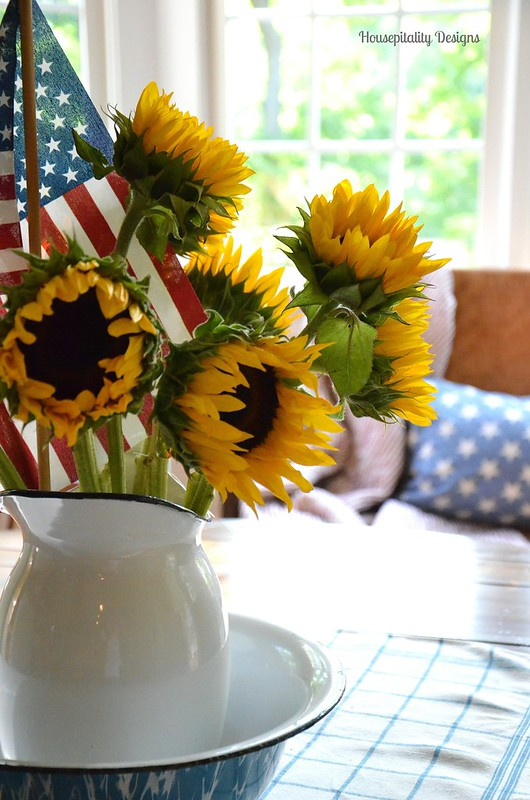 Sunflowers in Vintage Enamelware Bowl and Pitcher