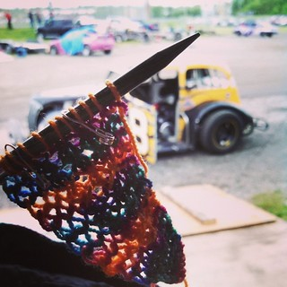 Happy #wwkip day! I'm #knitting at the #racetrack as usual... #wwkipday #whereiknit #Painted #scarf #handknit #maine #uslegends #raceday