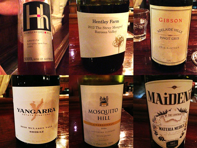 A few wines I tried at The Daniel O'Connell, Adelaide Australia