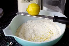 threading the dough with lemon zest