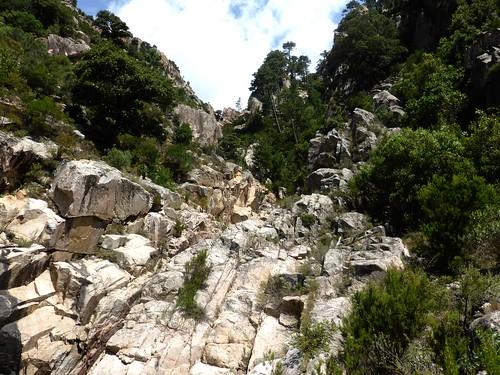 Le début de la partie rocheuse du canyon : 1er boyau rocheux