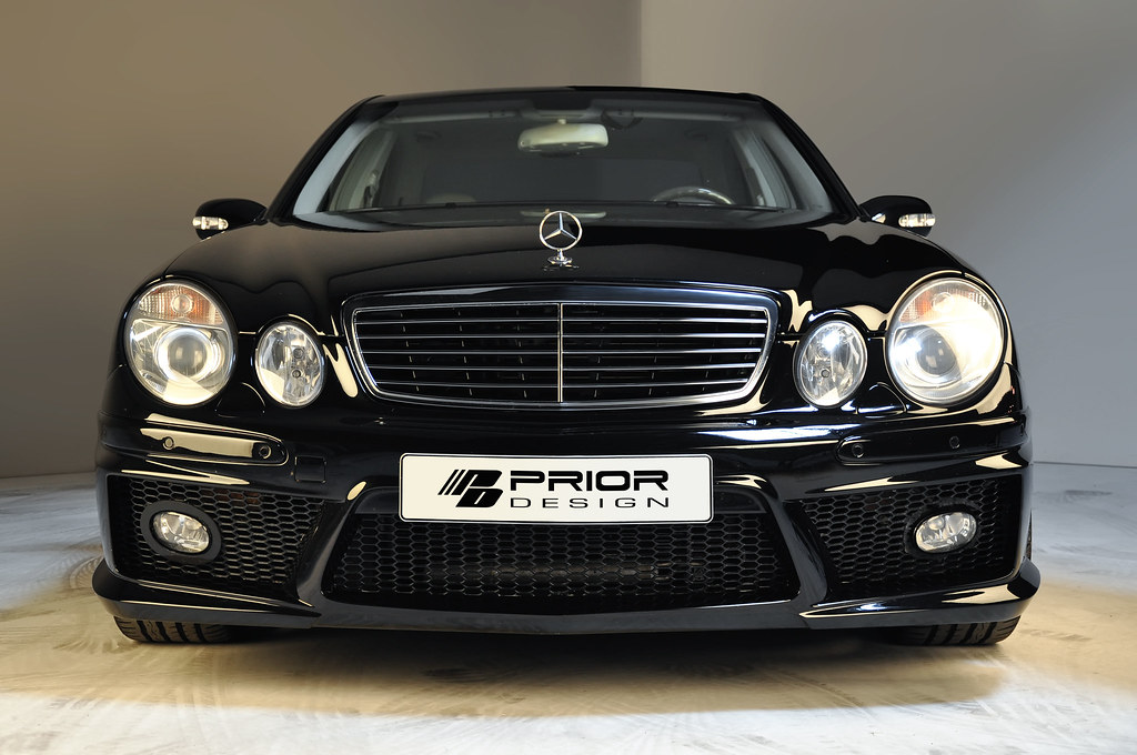 Black mercedes benz e class w211 full body kit front for 2007 mercedes benz e55 amg