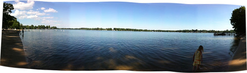 Panorama of Long Lake at Ramona Park, Portage