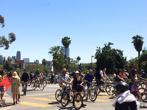 Participating in CicLAvia, in which approximately 6.3 miles of Wilshire Boulevard was closed to traffic from Downtown to LACMA/Fairfax for 7 hours, for an estimated 150,000 bicyclists, walkers, skaters, skateboarders, etc. (modeled after ciclovia in Colombia, which began in Bogota in 1976)
