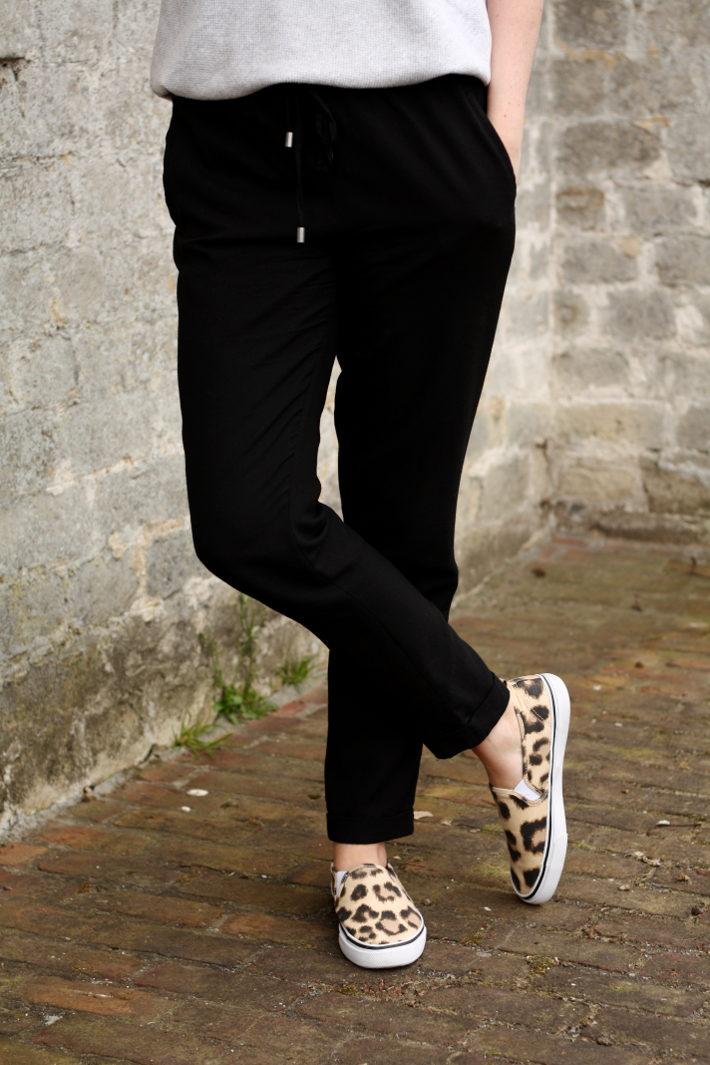 h&m leopard slip-ons casual trousers