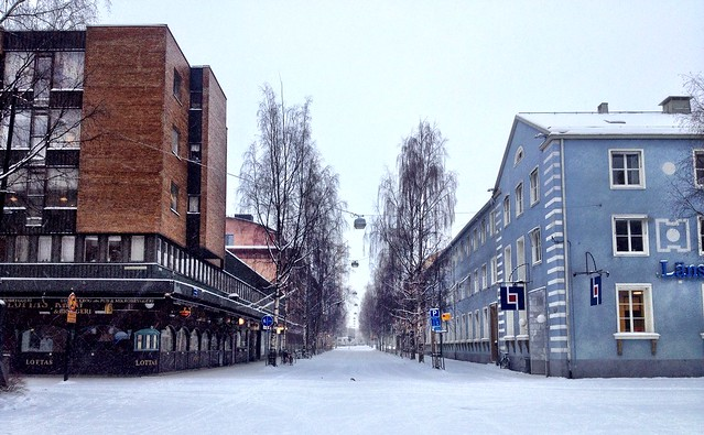 Snow covered roads in Umeå