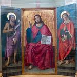 Trittico  ligneo attr. a Antoniazzo Romano - con Cristo e i Santi Giovanni Battista e Giovanni apostolo ed evangelista