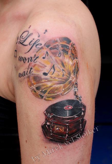 gramophone tattoo by Mirek vel Stotker | Flickr - Photo Sharing!