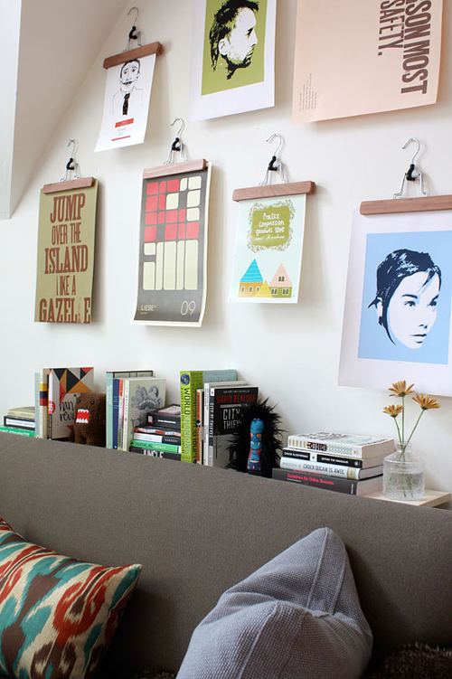 diy: displaying artwork with clothhangers | THE STYLE FILES