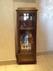 shelving(0.0), cupboard(0.0), longcase clock(0.0), china cabinet(0.0), antique(0.0), cabinetry(0.0), shelf(1.0), furniture(1.0), wood(1.0), display case(1.0), door(1.0),