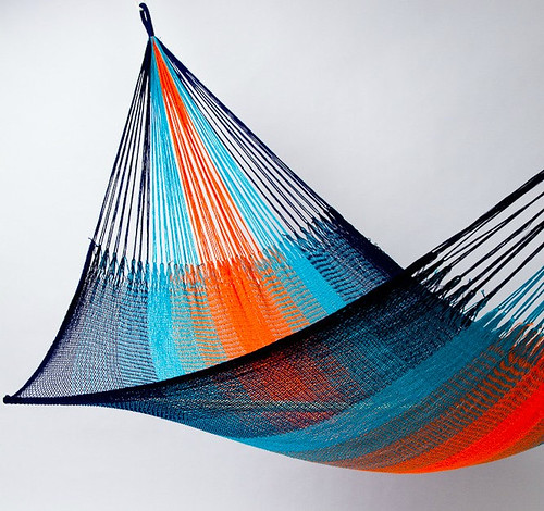 Hammock: Orange & Blue Stripe (Two Person) by Yellow Leaf