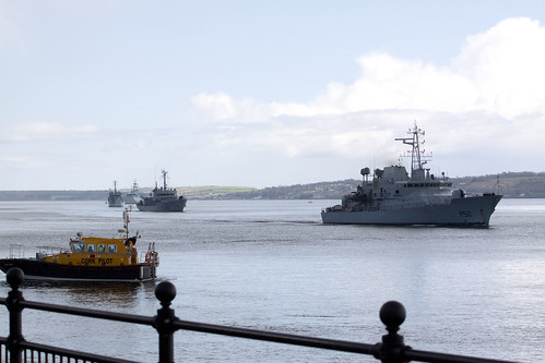 L.E. Niamh, L.E. Aisling, L.E. Aoife and HMS Mersey arrive for the fleet review.
