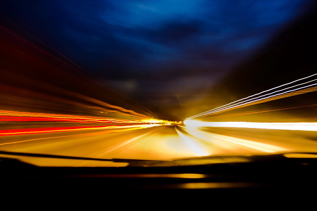 light trail on the highway