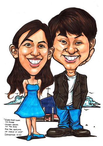 Couple caricatures at church