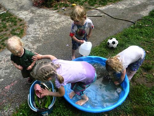 washing their things, just like Laura