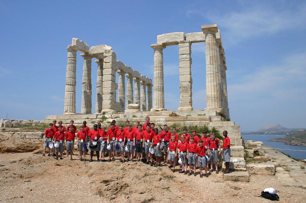 Atlanta Boychoir at the Temple of Poseidon in Cape Sounion, Greece