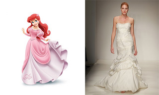 Ariel from the Little Mermaid wearing a dress with the Alfred Angelo version right next to it