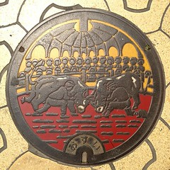 宇和島マンホール 闘牛ですなー