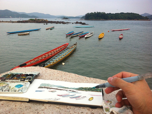 Sketching dragon boats