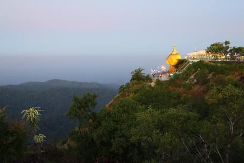travel trees mountain canon landscape temple eos golden shrine asia tour state dusk burma buddhist holy myanmar mon southeast touring kyaiktiyo 50d cormend