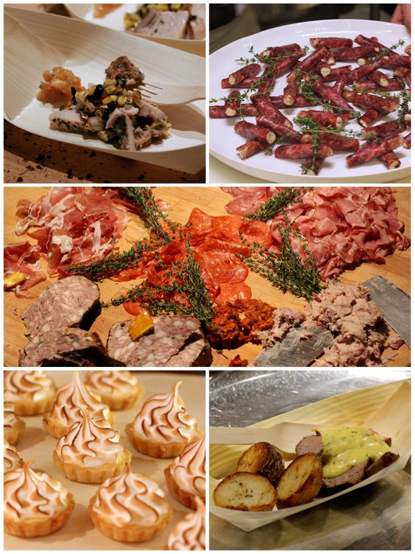 Clockwise from top left: Pork belly with Corn Salsa, Bresaola Cigars with Parmesan and Eschallots, Charcuterie Platter, Roast Beef with Sauce Bearnaise and Duck Fat Potatoes, Mini Lemon Meringue Tarts