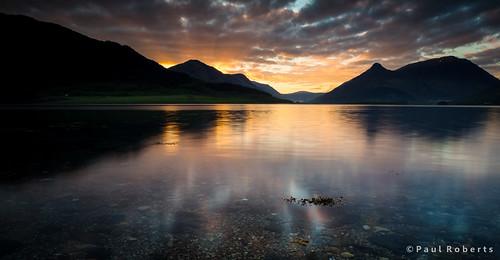 morning mountain reflection water sunrise landscape scotland highlands still scottish shore glencoe pap