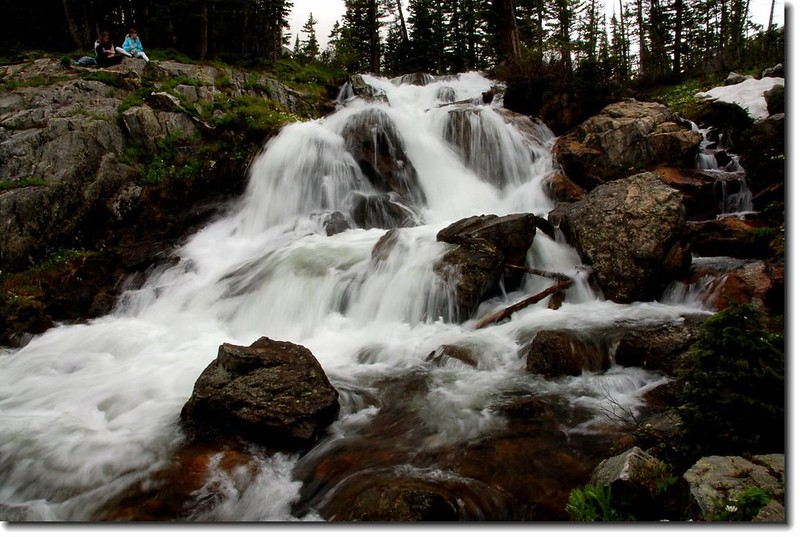 The trail crosses the North Fork Middle Boulder Creek just below this picturesque waterfall 1