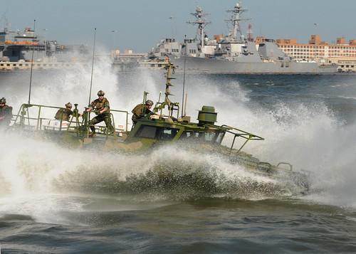 Navy riverine boat runs on algae-based fuel.
