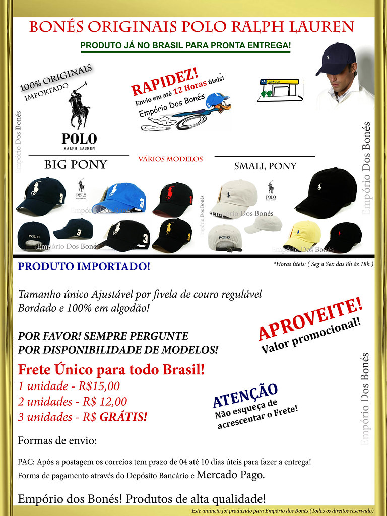 Bon� Polo Ralph Lauren Original Big E Small Pony +40 Modelos