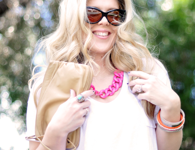 neon accessories-waved hair-sunglasses