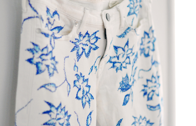 blue and white floral jeans  DIY