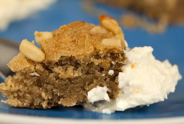 Rosemary-Pine Nut Butter Cake with Whipped Honey-Orange Ricotta Cream