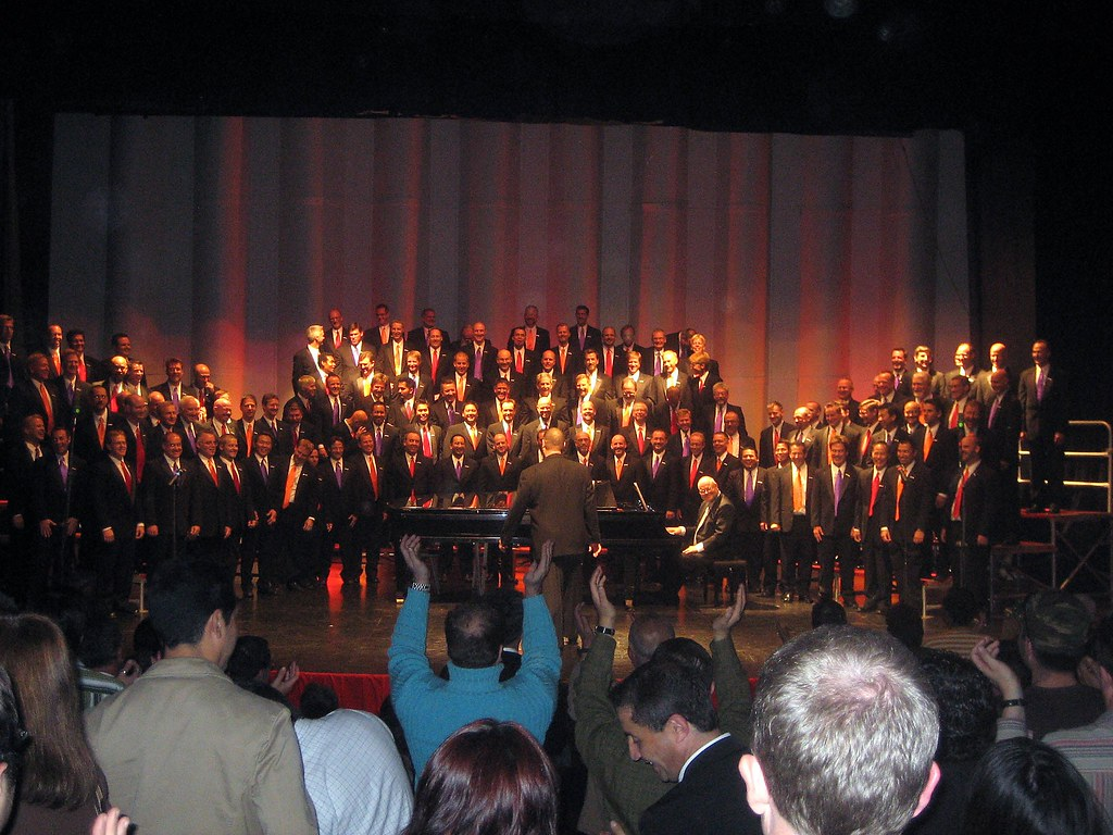 The Gay Men's Chorus of Los Angeles receives a standing ovation after its concert in the Teatro Oriente in Santiago, Chile